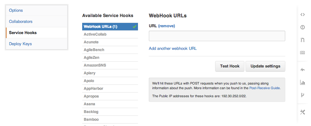 The Webhooks admin page